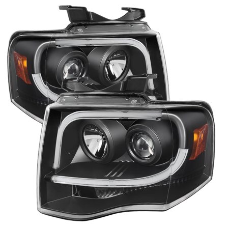 Spyder Ford Expedition 07-13 Projector Headlights - Light Tube DRL - Black - High H1 (Included) - Low H1 (Included)