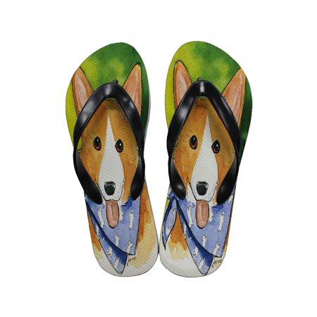 KuzmarK Flip Flop Thong Sandals Unisex - Welsh Corgi with Blue Bandana Dog Art by Denise Every