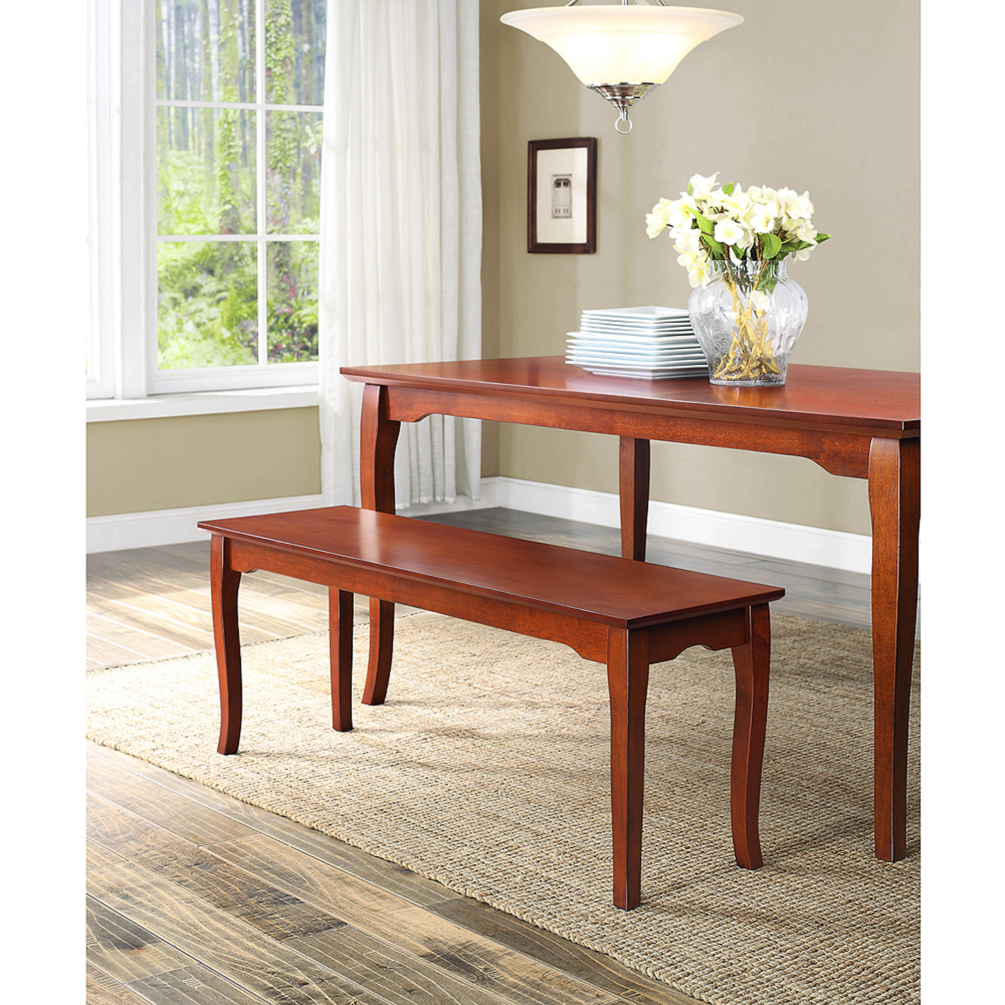 Better Homes and Gardens Ashwood Road Dining Bench, Brown Cherry