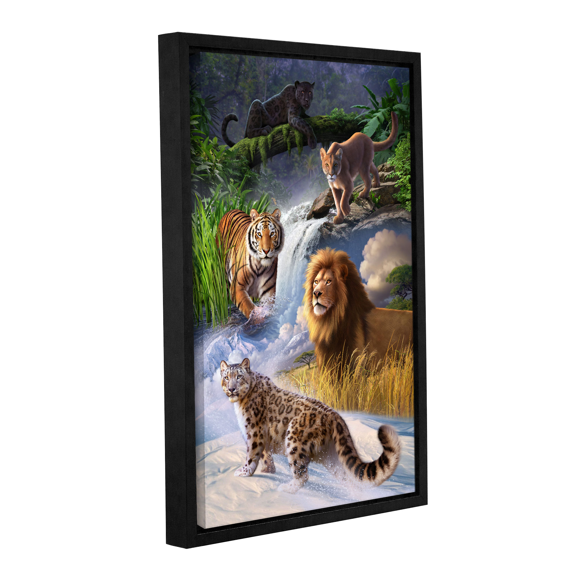 Big Cats' Gallery Wrapped Floater-framed Canvas Art Print