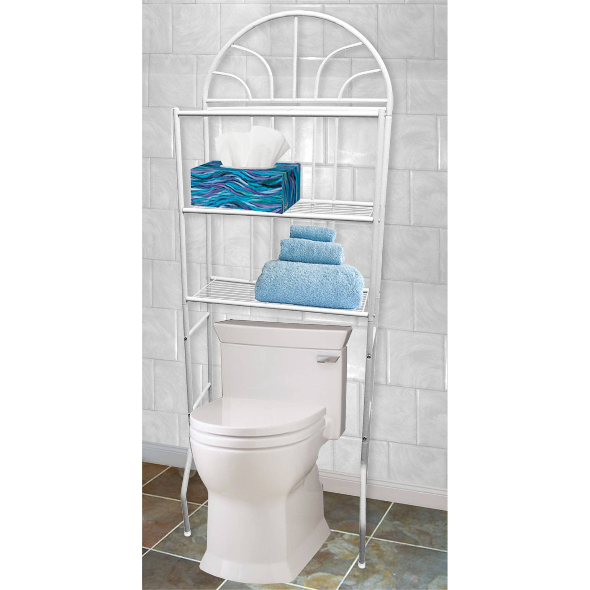 Home Basics 3-Shelf Steel Bathroom Space Saver, White