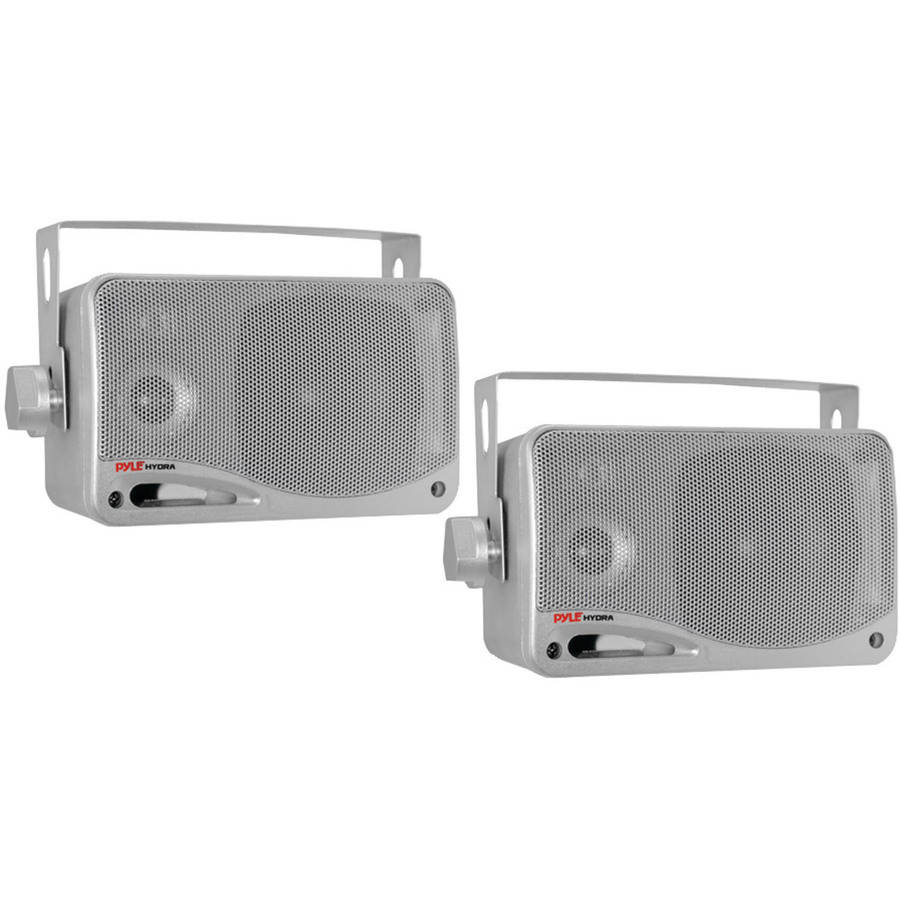 "Pyle Plmr24s 3.5"" 200-Watt 3-Way Weatherproof Hydra Series Mini-box Speaker System, Silver"