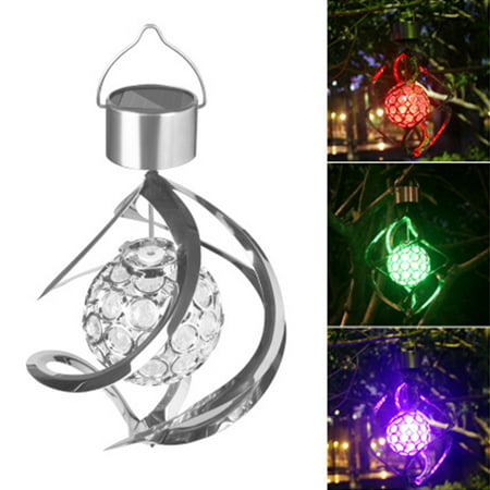 Solar Powered Wind Chimes LED Spiral Spinner Lamp Colour Changing Hanging Wind Light Galaxy Wind Chime for Outdoor Garden Courtyard Lawn Balcony Porch Decoration
