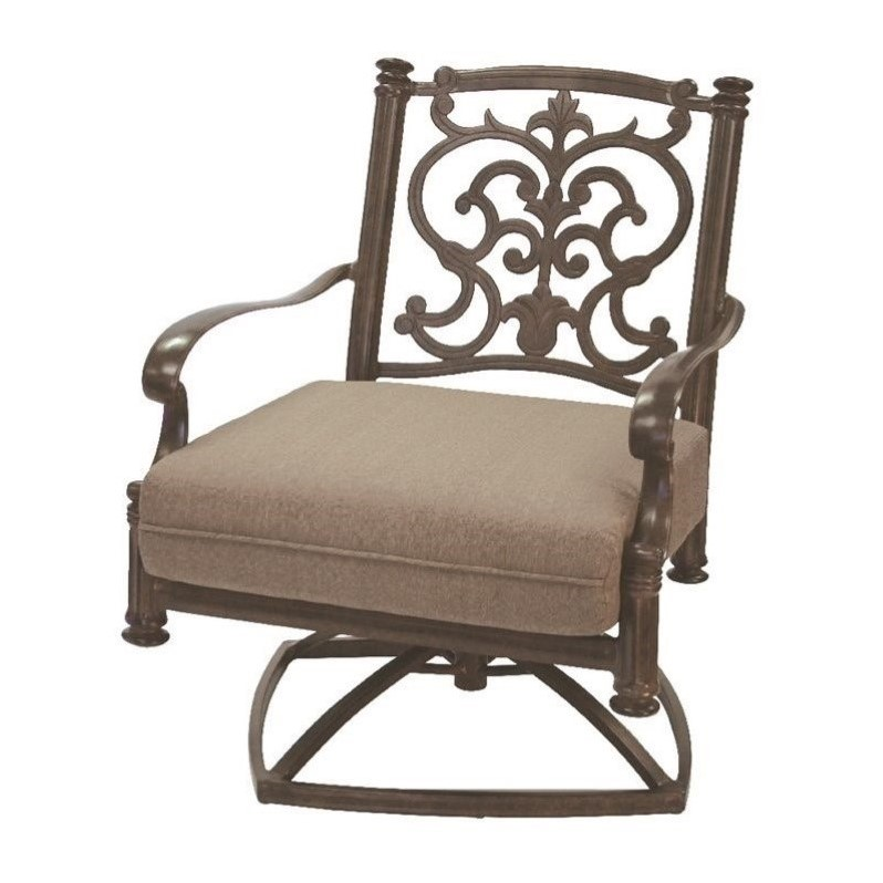 Darlee Santa Barbara Swivel Patio Rocker Club Chair With Cushion