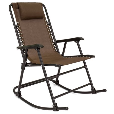 Best Choice Products Foldable Zero Gravity Rocking Patio Recliner Lounge Chair w/ Headrest Pillow - Brown