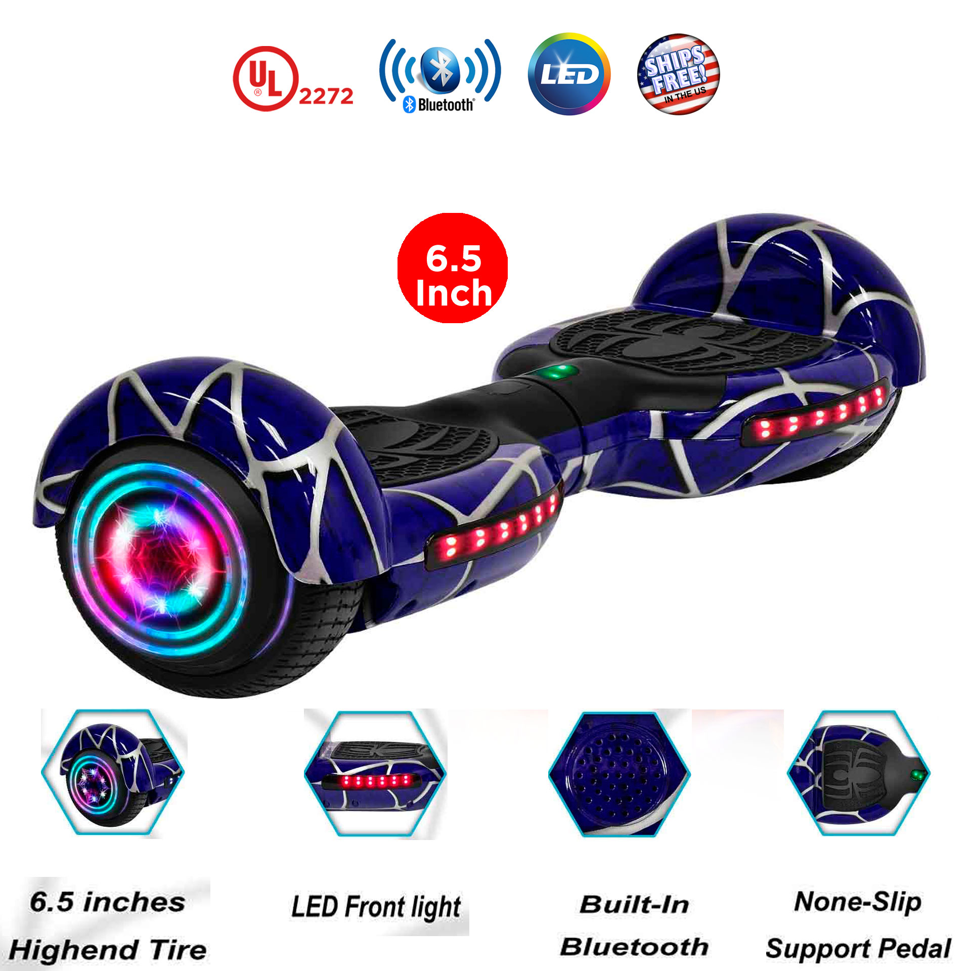 """EverGrow Pink Hoverboard with Bluetooth and LED Lights 8"""" 2 Wheels Self Balancing Electric Scooter Board, FREE BAG (WHEELS-WC8-PINK)"""