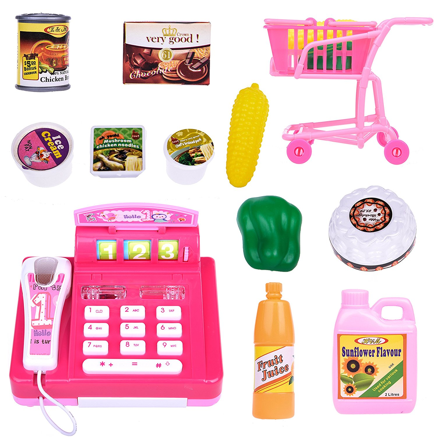 Mini Cash Register Shopping Cart Toys With Groceries and Cashier Telephone Radio Set Kids Gift 10 PCs F-28