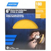 Norton 50132-038 Adhesive-Back Sanding Discs, Gold, 180 Grit, 6-In., 15-Ct. - Quantity 1
