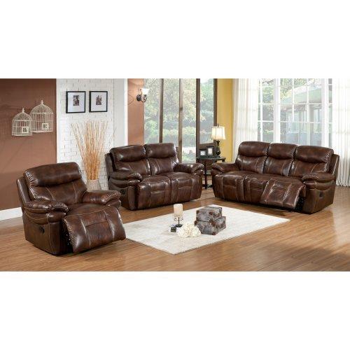 Abbyson Living Riley 3 Piece Premium Top Grain Leather Reclining