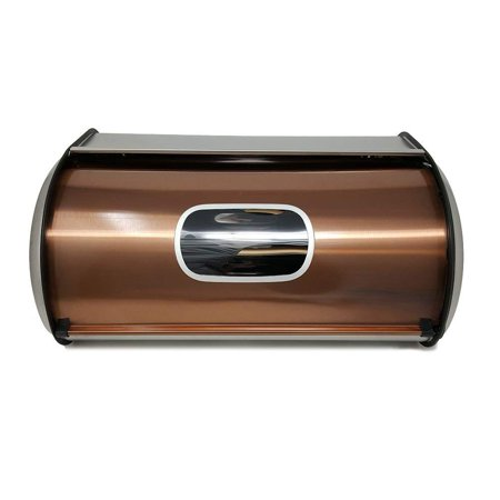 Bread Box Stainless Steel with Sliding Lid Large bread bin, bread storage Bread holder 17 X 11 X 7.5 Visual - Bread Box Window
