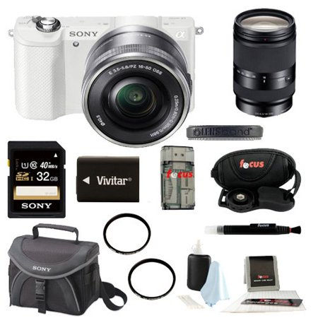 Sony Alpha a5000 Mirrorless Interchangeable Lens Camera (White) with 18-200mm F3.5-6.3 Lens and 32GB Deluxe Accessory Kit