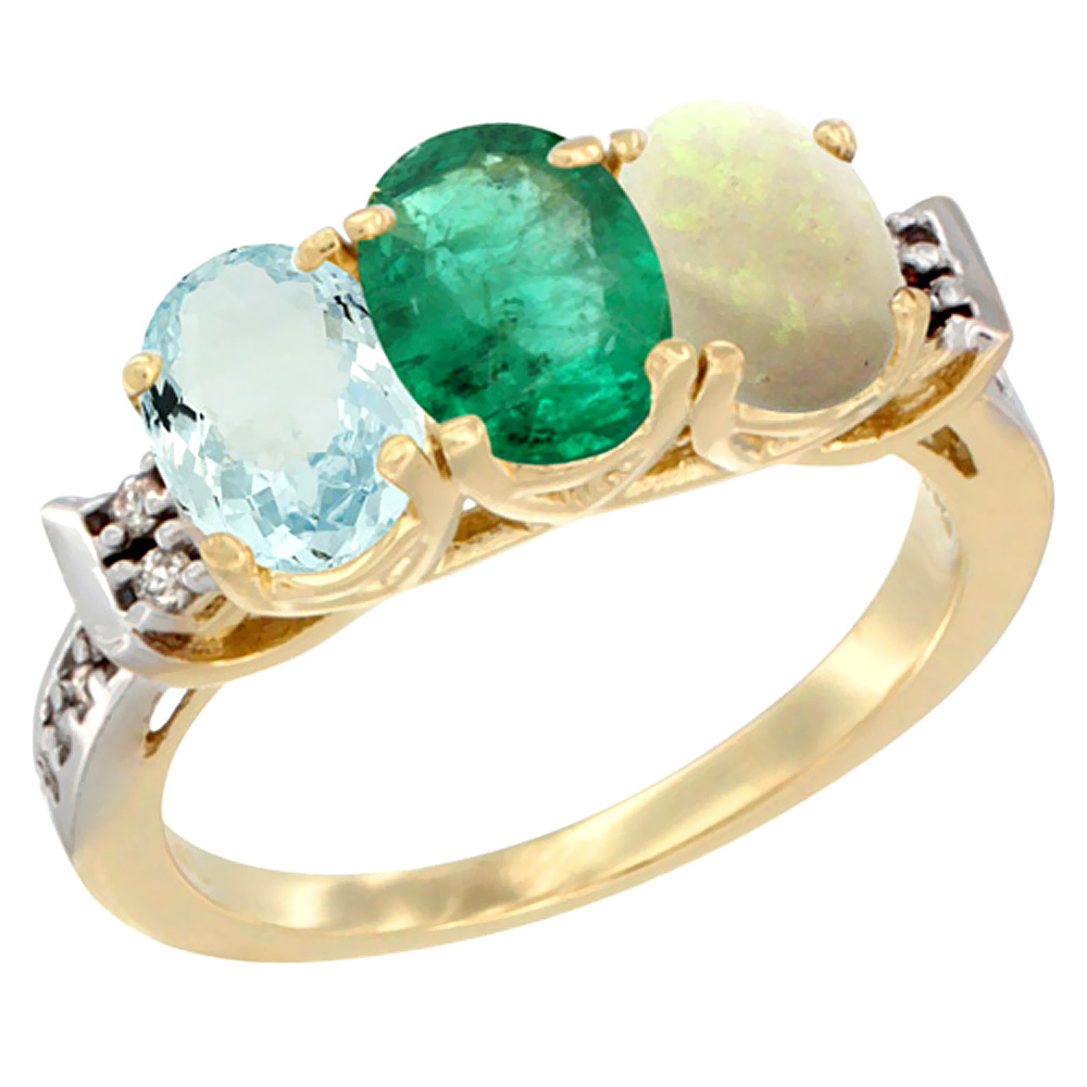 14K Yellow Gold Natural Aquamarine, Emerald & Opal Ring 3-Stone Oval 7x5 mm Diamond Accent, sizes 5 10 by WorldJewels