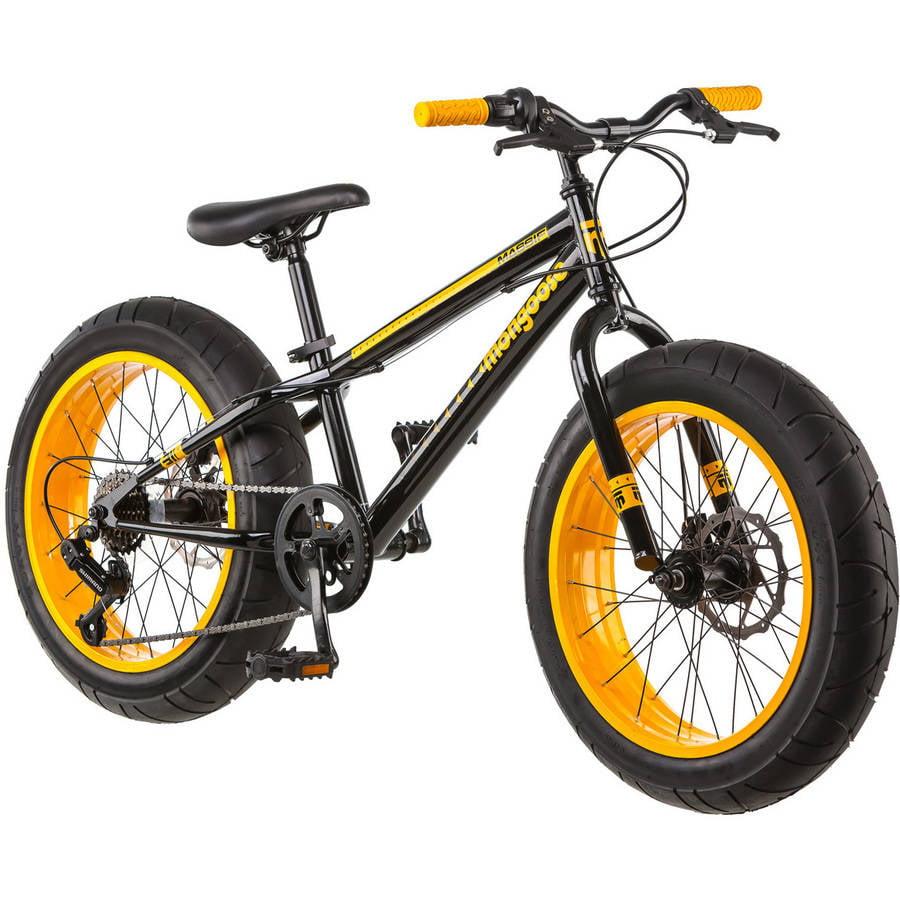 "20"" Mongoose Massif Boys' All-Terrain Fat Tire Mountain Bike, Black/Yellow"