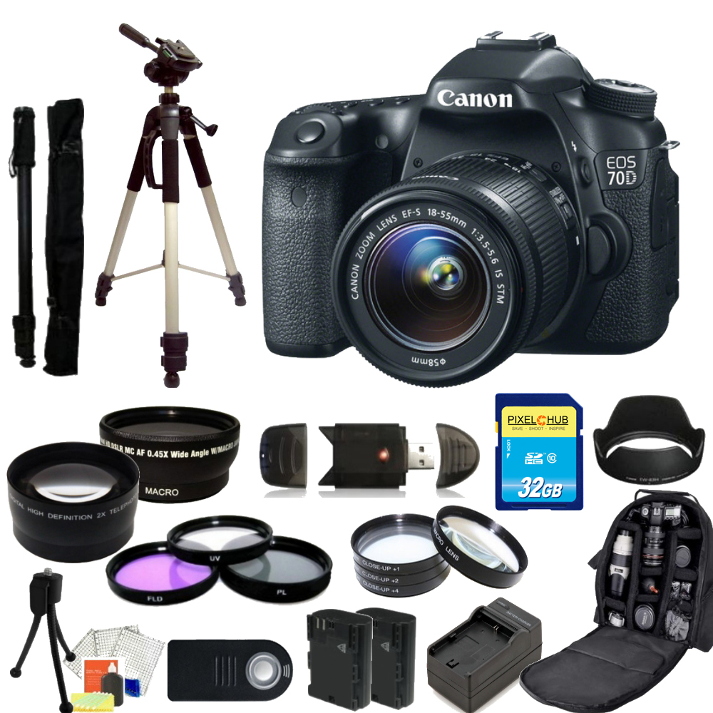 Canon EOS 70D DSLR Camera with 18-55mm STM Lens MEGA BUNDLE