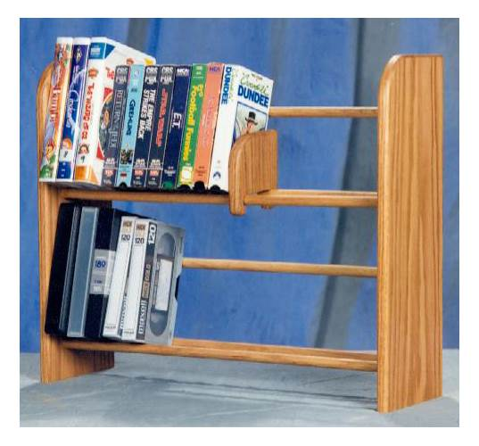2 Row Dowel Media Rack (Honey Oak)