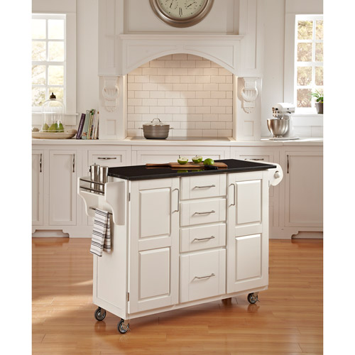 Home Styles Large Kitchen Cart, White / Black Granite Top