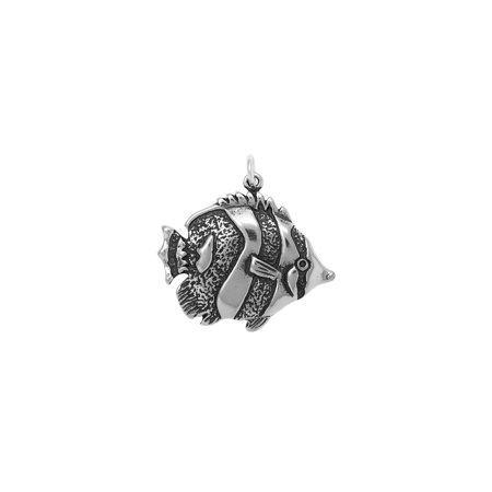 Sterling Silver Butterfly Fish Charm (approximately 19.5 mm x 27 mm)