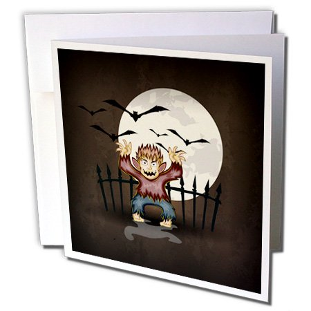 3dRose Spooky Scary Werewolf Monster Spooking In Front Of Full Moon With Bats Halloween Illustration Design - Greeting Cards, 6 by 6-inches, set of 12](Scary Halloween Monster Pics)