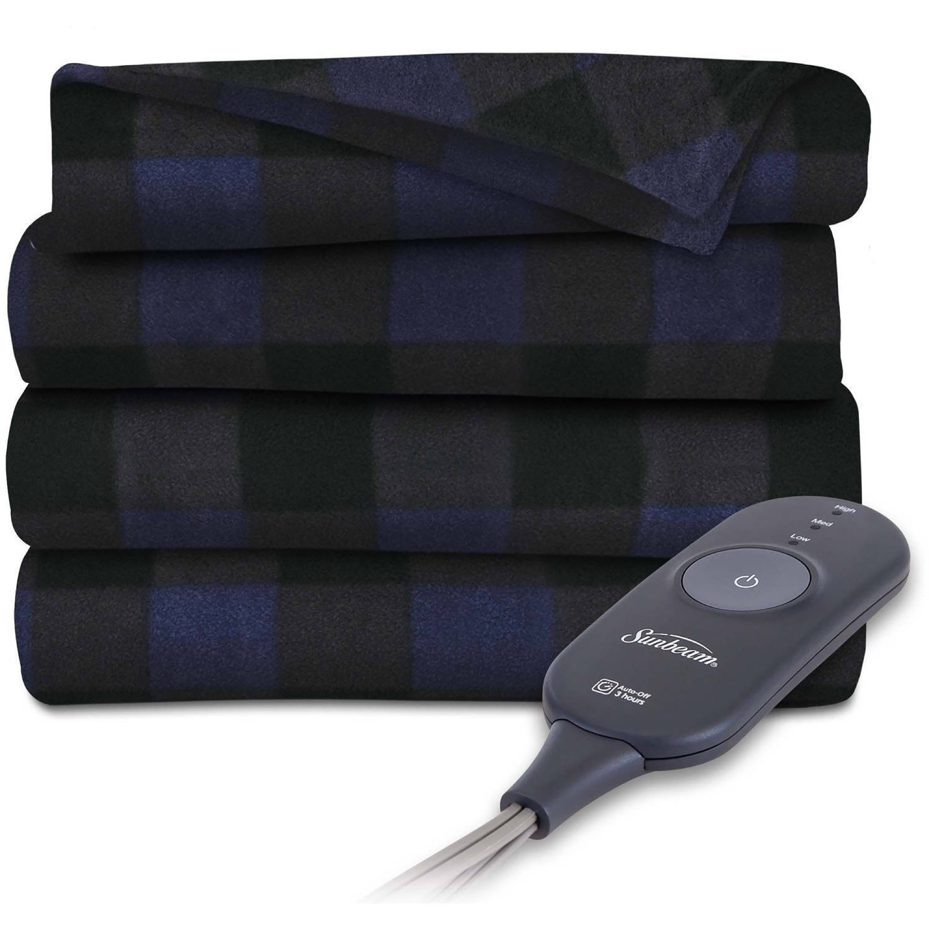 "Sunbeam Fleece 60"" x 50"" Electric Heated Navy Buffalo Plaid Throw Blanket, 1 Each"