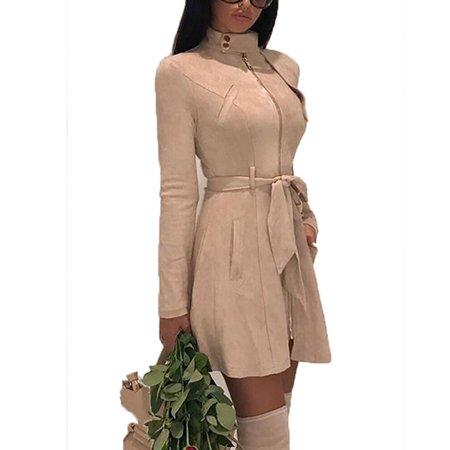 Sleeve Trench - Women Fashion Solid Zipper Jacket Long Sleeve Trench Coat Suede Casual Windbreaker Autumn Winter Long Dress Coats with Belt