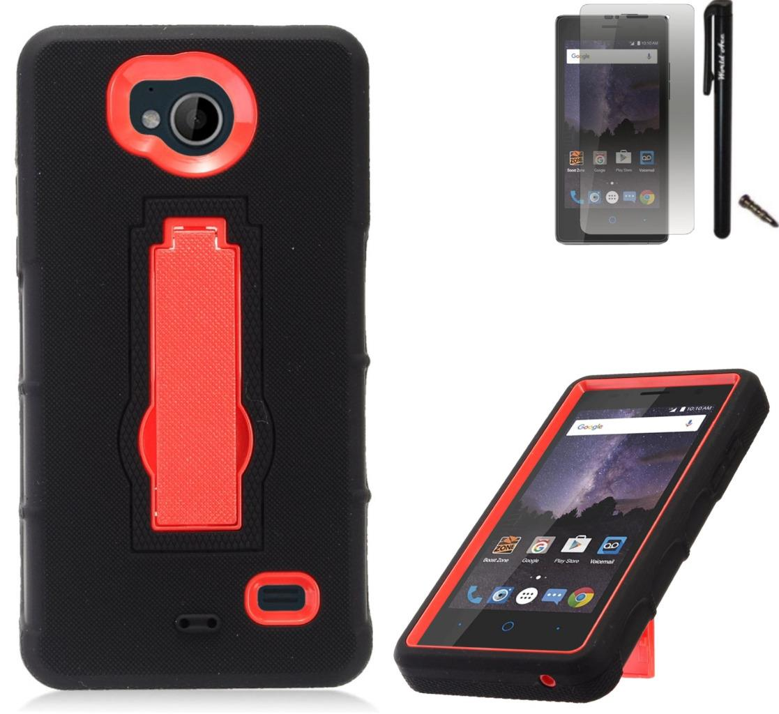 For ZTE Tempo N9131 Case / ZTE Majesty Pro LTE Case Symbiosis Armor Hybrid Silicone Phone Cover Hard Plastic w/ Stand Combo Pack (Red/Black)