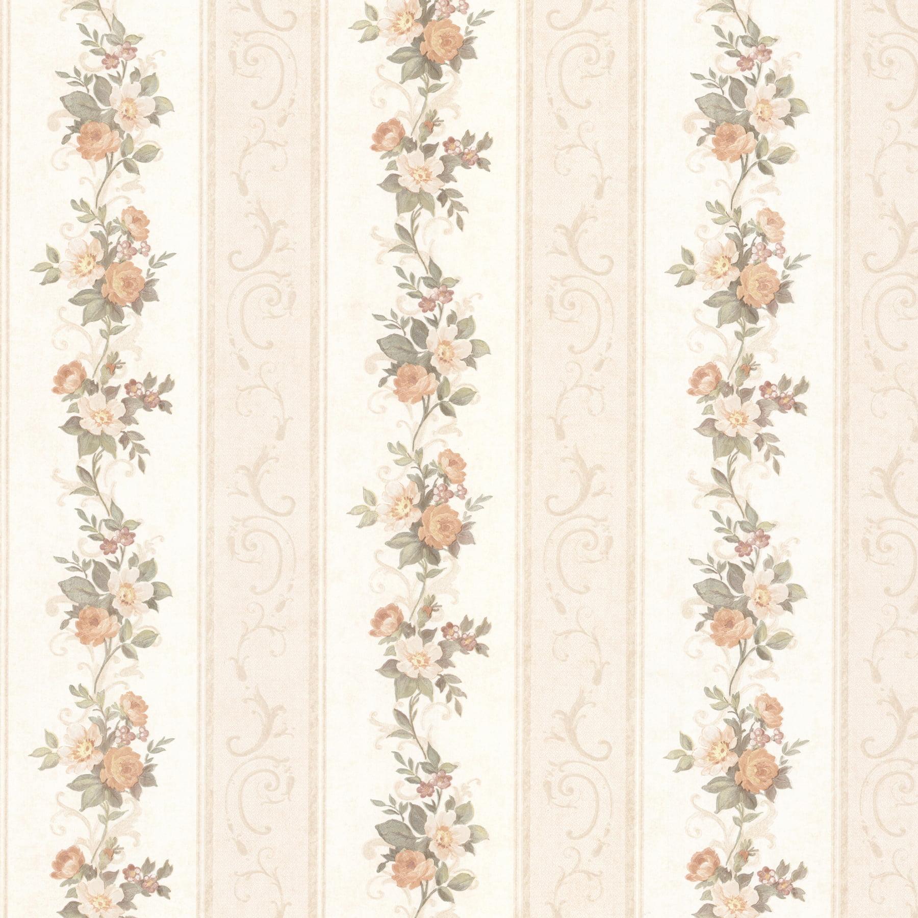 Mirage Lorelai Peach Floral Stripe Wallpaper Walmart Com