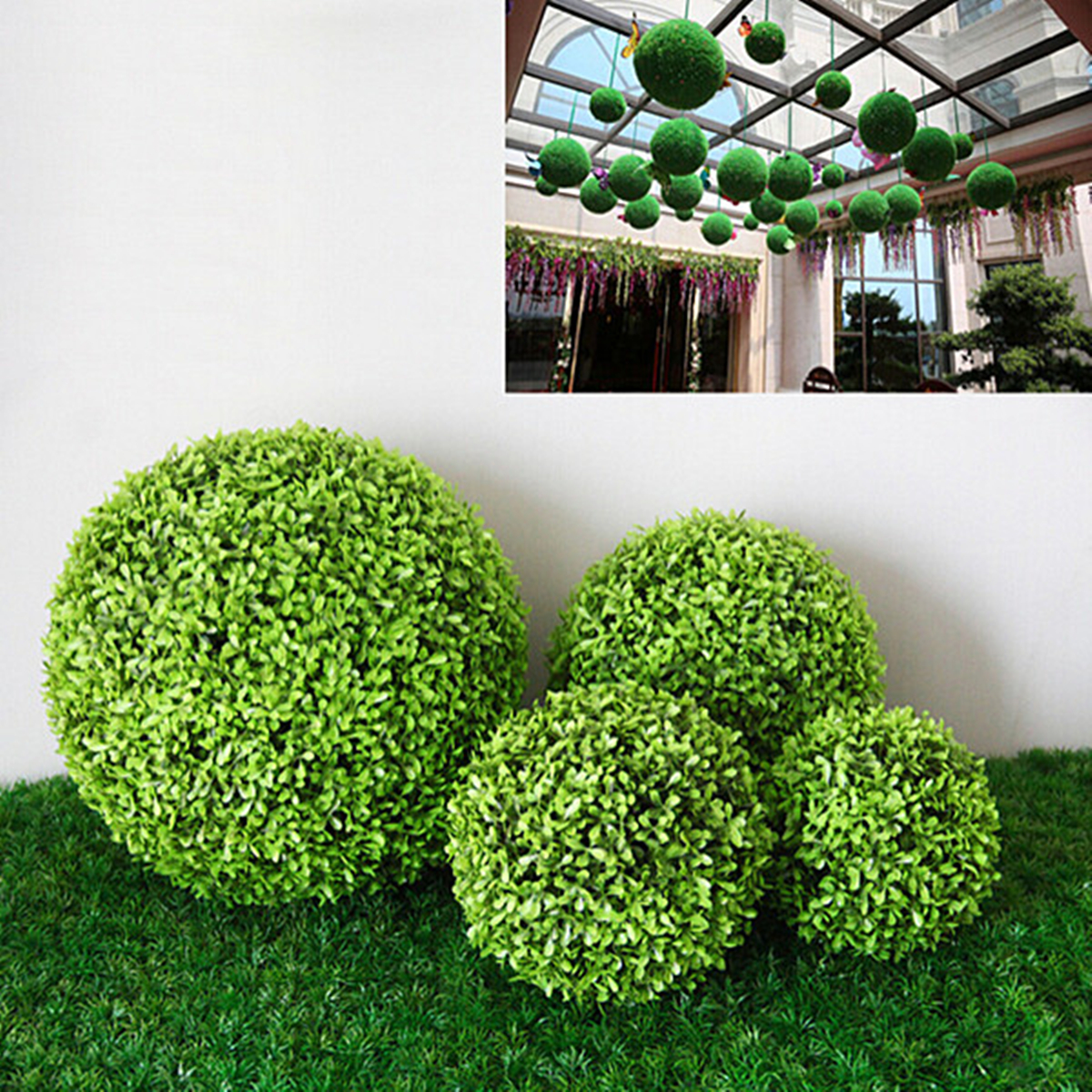 One Artificial Grass Ball Indoor Outdoor Topiary Tree Plant Pool Patio Decor Floral Decor