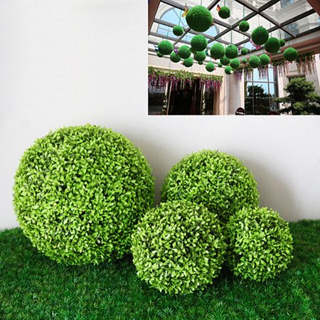 Topiary Base (Meigar Green Grass Balls Decor Ball Topiary Artificial Plant Parties Foliage Grass Ball Pom Poms Wedding Decor Indoor/Outdoor Artificial Plant Ball Topiary Tree Substitute )