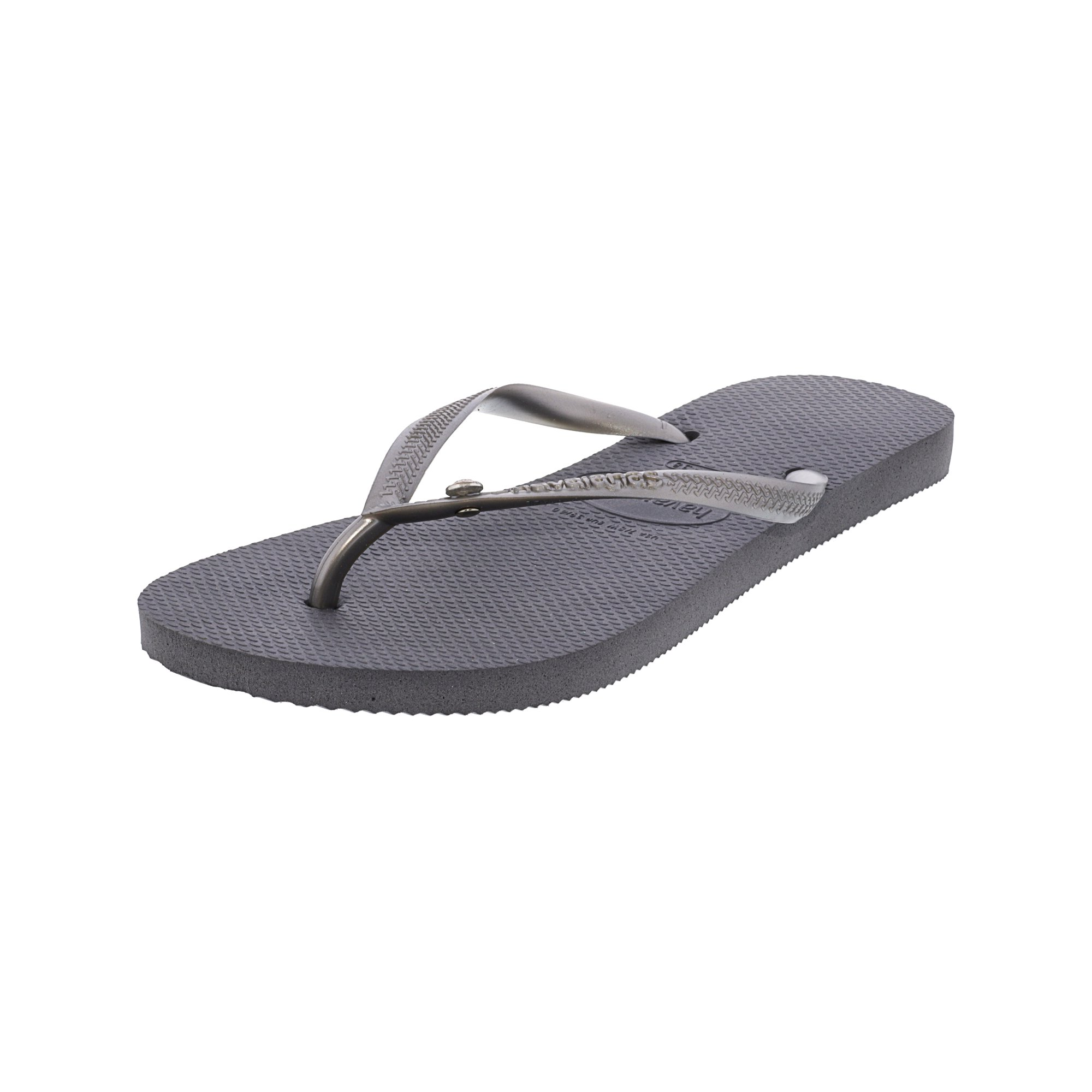 c7ea130c1 Havaianas Slim Crystal Glamour Sw Steel Gray Rubber Sandal - 10M   9M