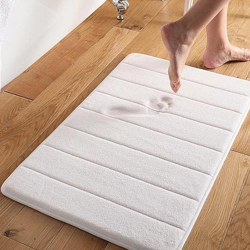 Super Soft and Absorbent Memory Foam Bath Mat white