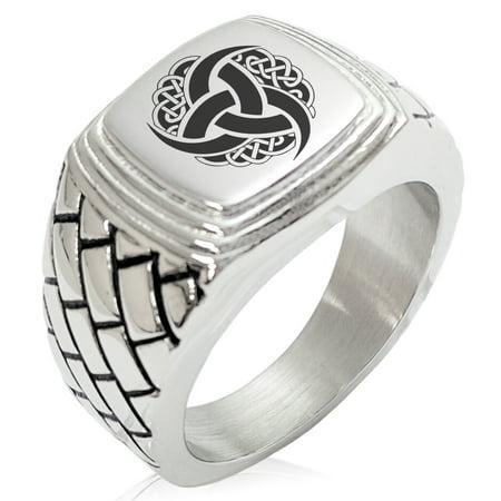Stainless Steel Triskelion Odin's Horn Knot Viking Geometric Pattern Step-Down Biker Style Polished -