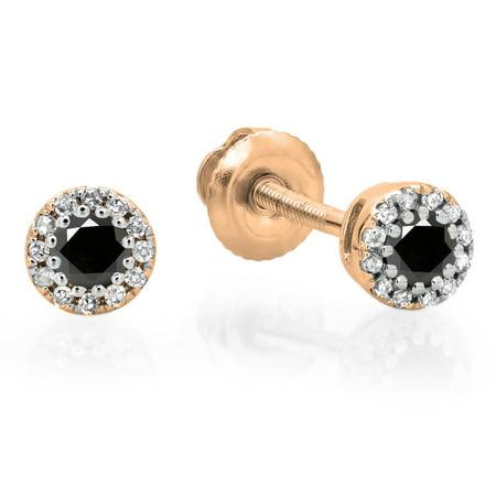 18K Gold Round Ladies Cluster Halo Style Stud - Black Diamond Cluster Earrings