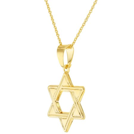 "18k Gold Plated Star of David Jewish Judaism Religious Pendant Necklace 19"" - image 2 of 5"