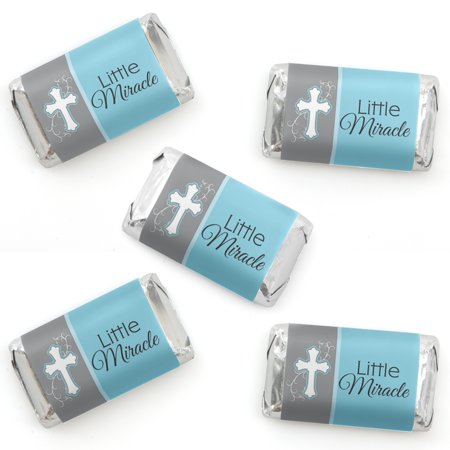 Little Miracle Boy Blue & Gray Cross - Mini Candy Bar Wrapper Stickers - Baptism or Baby Shower Small Favors - 40 Count](Buy Candy)