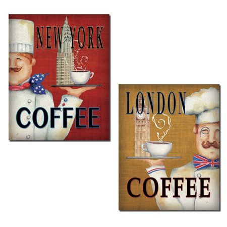 Jolly London and New York Coffee Chefs by Daphne Brissonnet; Kitchen Decor; Two 11x14in Paper