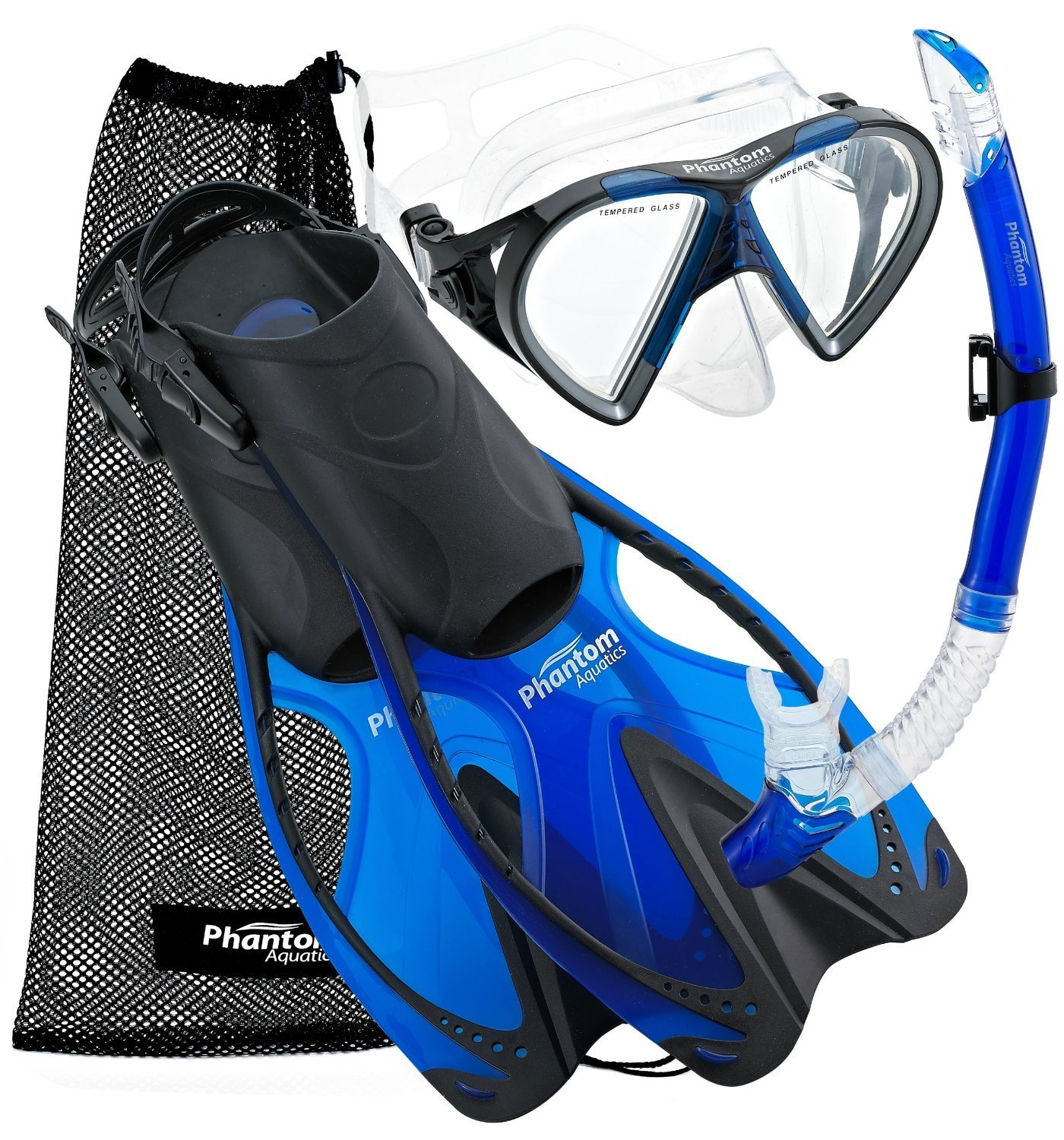 Phantom Aquatics Speed Sport Mask Fin Snorkel Set Adult, Blue - Large/X-Large/Size 9 to 13