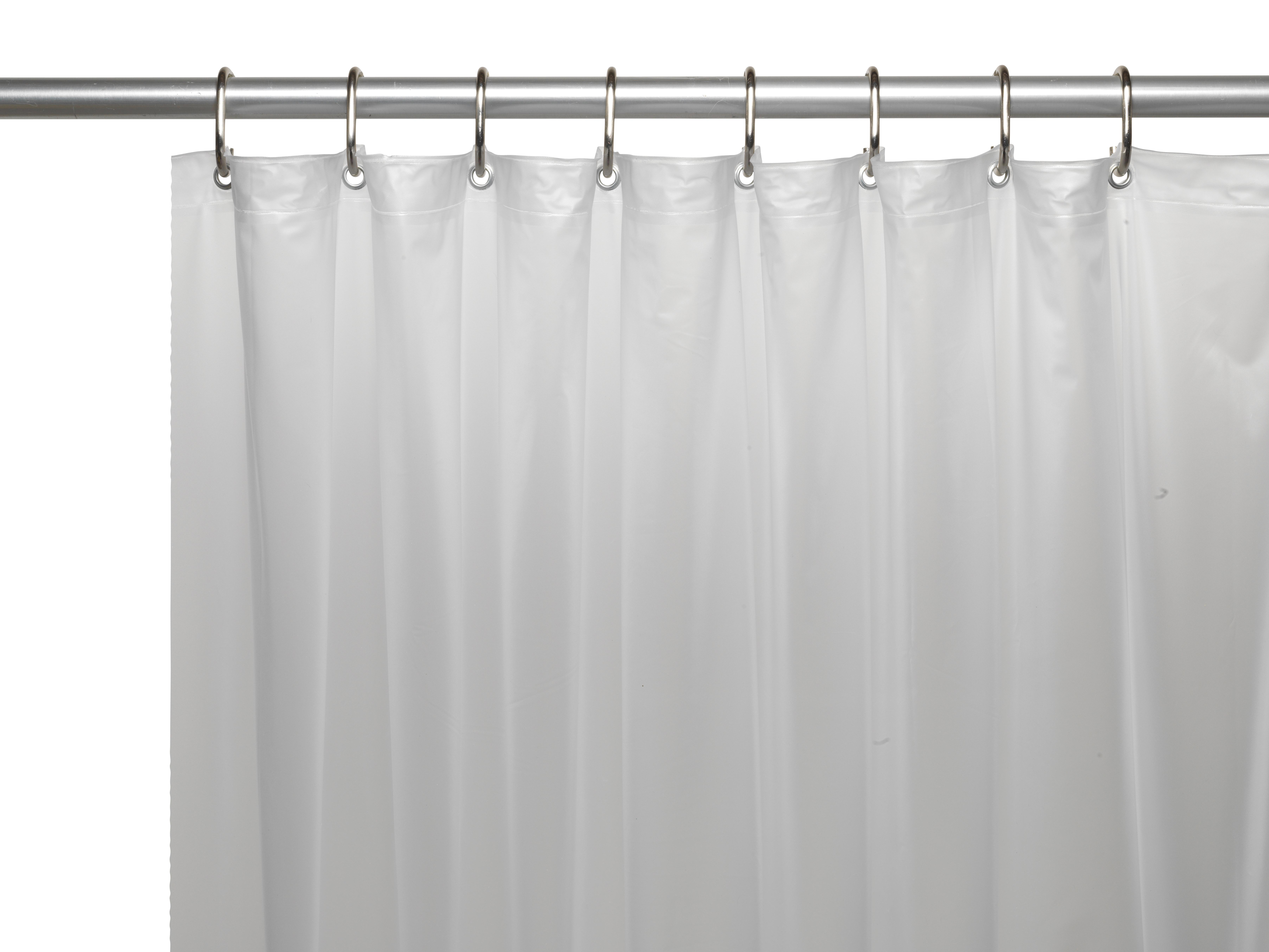 Extra long 70 x 84 mildew resistant 10 gauge vinyl shower curtain liner w metal grommets and reinforced mesh header in frosty clear