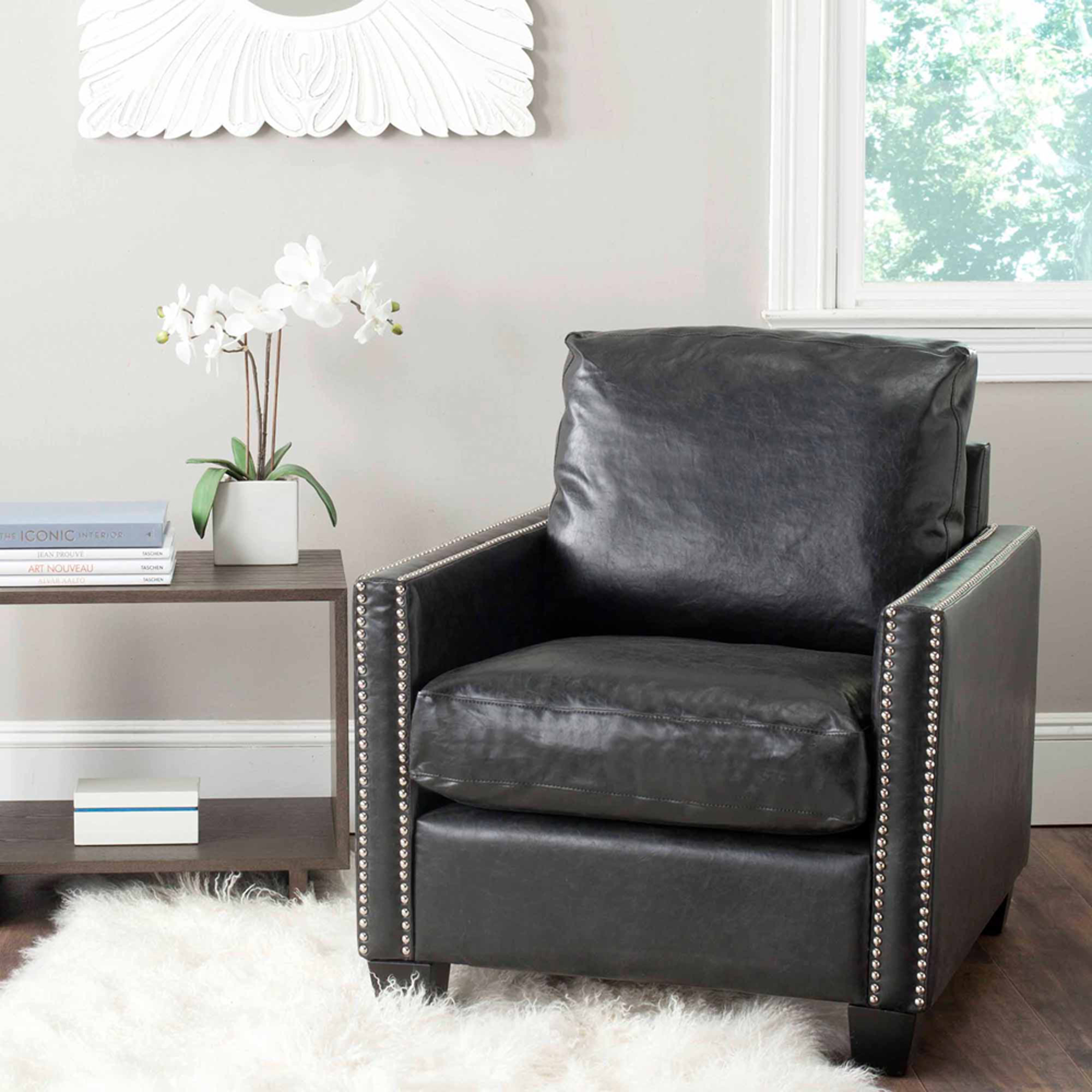 Safavieh Horace Bicast Leather Club Chair, Antique Black with Silver Nail Heads