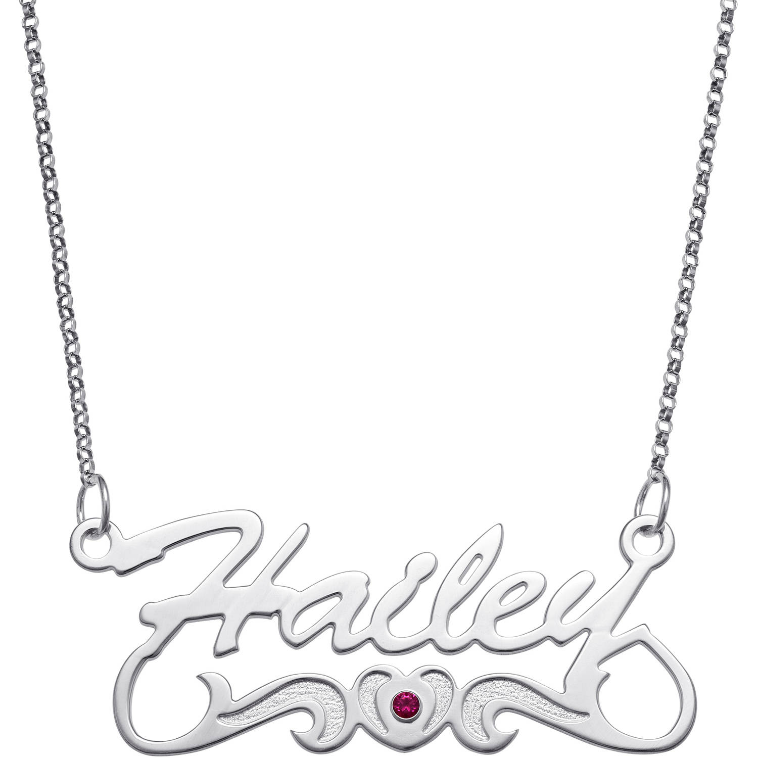 Personalized Script Name with Birthstone Heart Tail Sterling Silver Necklace, 18""