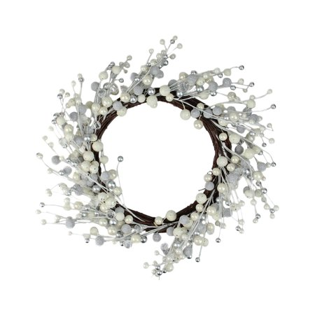Northlight 20 in. Winter Wonderland Ivory and Silver Balls on Vine Wreath](Cotton Boll Wreath)