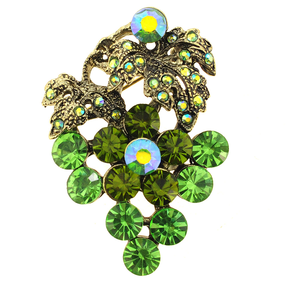 Erinite Green Grape Crystal Pin Brooch by