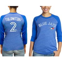 Troy Tulowitzki Toronto Blue Jays Majestic Threads Women's 3/4 Sleeve Name & Number Raglan T-Shirt - Royal
