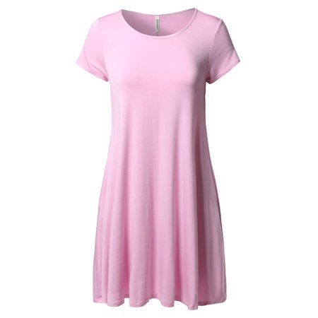- FashionOutfit Women's MODAL Solid Soft Stretch Short Sleeve Pocket Tunic Dress Top