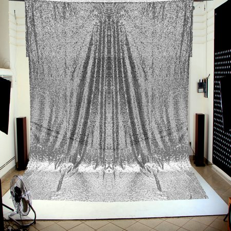 4X6FT Silver Sequins Wall Photography Backdrop Background Wedding Studio Photo Booth Shiny Tablecloth - Silver Sequin