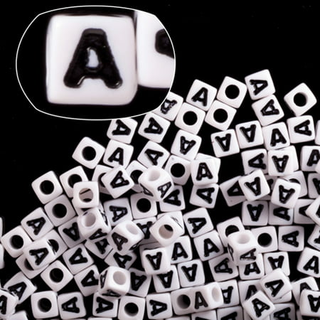 Alphabet Value Pack (Letter A White Acrylic Cube Alphabet Beads 7mm 209cnt/pack (2-pack Value Bundle), SAVE $1)