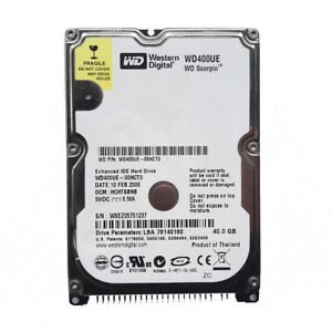 Western Digital Scorpio WD400UE 40GB 5400 RPM 2MB Cache IDE Ultra ATA100 / ATA-6 2.5