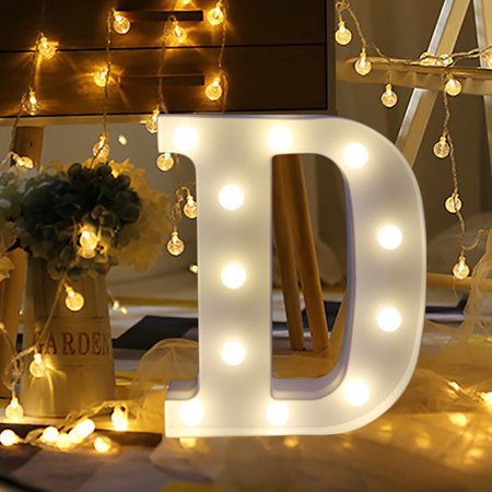 Muxika Remote control Alphabet Letter Lights LED Light Up White Plastic Letters Stand D](Stand Up Light)