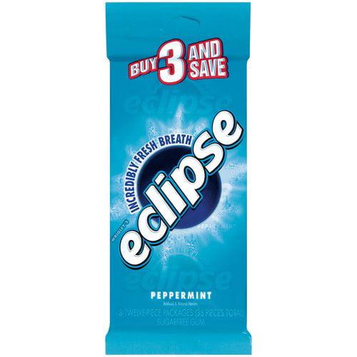 Eclipse Peppermint Sugar Free Gum, 3pk