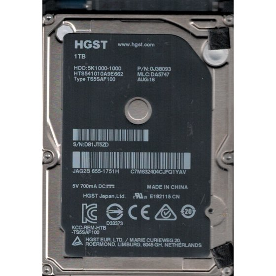 d0147d001c2 HTS541010A9E662 P/N: 0J38093 MLC: DA5747 MAC 655-1751H China HGST 1TB  Laptop HDD - Walmart.com