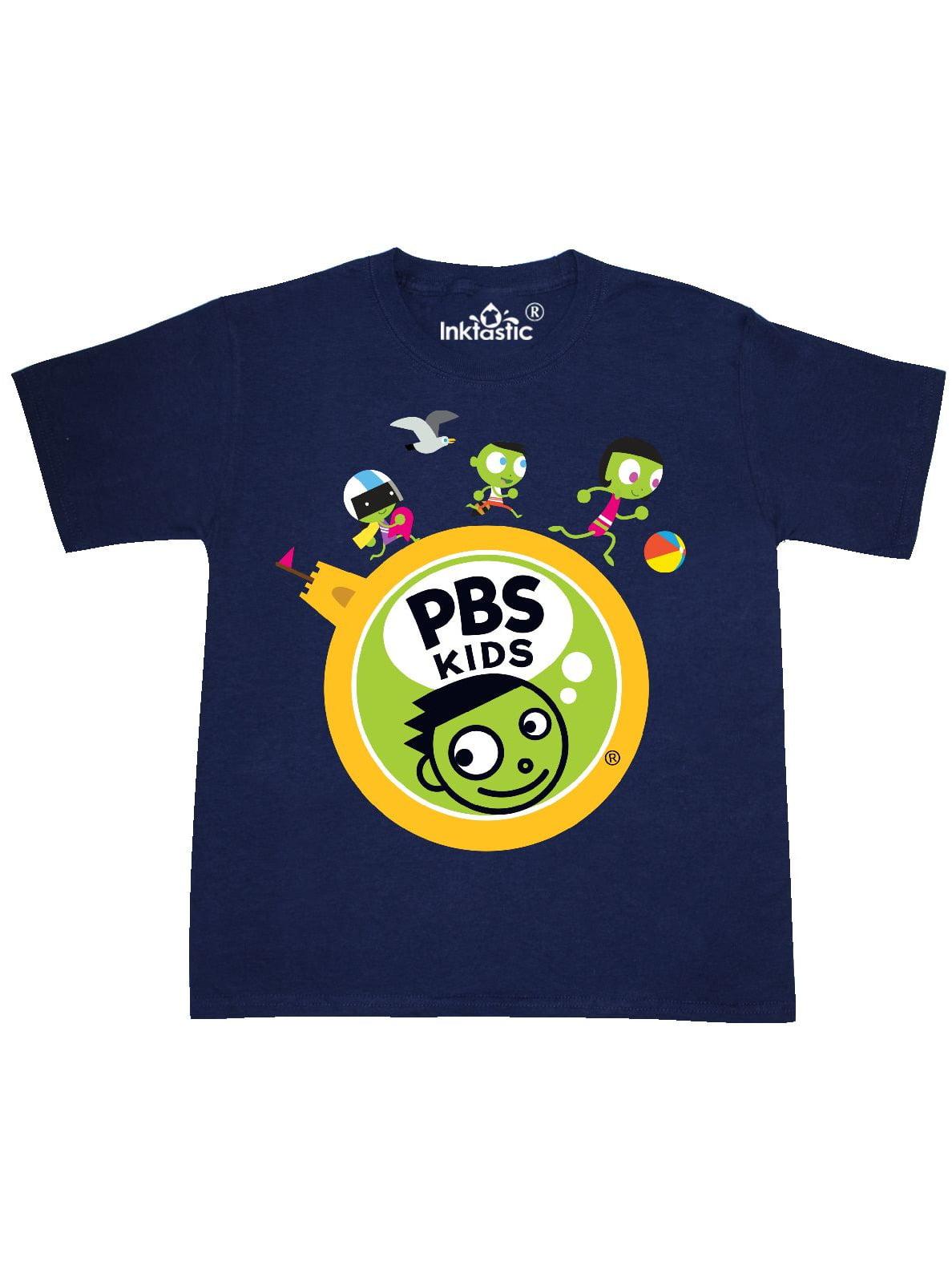 Dot, Del, and Dee Running Around PBS KIDS Logo Beach Youth T-Shirt